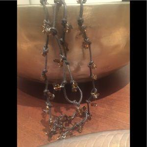 Unique Amber Lariat Necklace